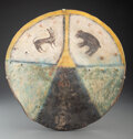 American Indian Art:Pipes, Tools, and Weapons, A Pueblo Painted Buffalo Hide Shield...