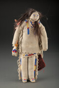American Indian Art:Beadwork and Quillwork, A Plains Beaded Hide Male Doll...