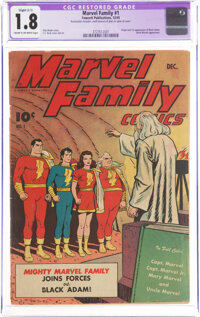 The Marvel Family #1 (Fawcett Publications, 1945) CGC Apparent GD- 1.8 Slight (C-1) Cream to off-white pages