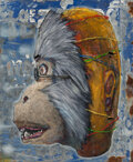 Paintings, Bon (20th Century). Monkey, 2013. Oil on zinc sheet. 12 x 9-3/4 inches (30.5 x 24.8 cm). Signed in ink to reverse. ...