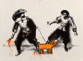 Prints & Multiples, Mr. Brainwash (b. 1966). Watch Out! (Orange), 2019. Screenprint in colors with hand finished spray paint and stencil on ...