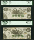 Obsoletes By State:Alabama, Montgomery, AL- State of Alabama $5 Jan. 1, 1864 Cr. 15, Two Examples PCGS Graded Extremely Fine 40; Extremely Fine 45PPQ.... (Total: 2 notes)