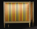 Furniture: French, A Louis XVI French Upholstered Day Bed. Unknown maker, French.Eighteenth Century. Painted wood. Unmarked. 48 inches high...