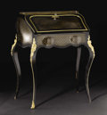 Furniture: French, An Inlaid Bronze Mounted Napoleon III Secretaire En Pent. Unknownmaker, France. Circa 1860. Ebonized wood, bronze. Unmark...