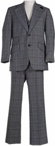 "Movie/TV Memorabilia:Costumes, Johnny Carson ""Tonight Show"" Suit. A three-piece wool suit worn byCarson on The Tonight Show. In Excellent condition wi..."
