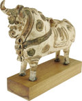 "Movie/TV Memorabilia:Photos, Pre Columbian-Style Bull Statue Featured in Sanford Roth Photos ofJames Dean. This medium-sized, ornate 14"" x 18"" pre-Colum..."
