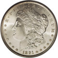 Morgan Dollars: , 1891-S $1 MS67 PCGS. Although a common issue in lower grades, up to and including MS64, the '...