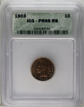 Proof Indian Cents: , 1903 1C PR66 Red and Brown ICG. Crisply struck with swirls of copper-orange, salmon, and grape. This gleaming Premium Gem h...