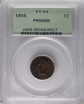 Proof Indian Cents: , 1906 1C PR66 Red and Brown PCGS. Pumpkin-orange and deep reddish-brown share the obverse with a splash of violet. Crisply s...