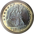 Proof Seated Quarters: , 1887 25C PR66 NGC. The ocean-blue obverse center is framed withperipheral apricot toning, and the reverse is ruby-red asid...