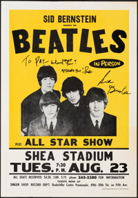"""The Beatles at Shea Stadium (Sid Bernstein, 1966). Fine/Very Fine. Signed Reproduction Poster (12.5"""" X 17.75"""")..."""