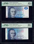 Finland Finlands Bank 1000 Markkaa 1986 (ND 1991) Pick 117a; 121 Two examples PMG About Uncirculated 55; Choice Extremel...