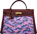 Luxury Accessories:Bags, Hermès Vintage 35cm Customized Purple Camouflage Toile & Rouge H Calf Box Leather Retourne Kelly Bag with Gold Hardware. O...