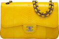 """Luxury Accessories:Bags, Chanel Yellow Python Jumbo Double Flap Bag with Gunmetal Hardware. Condition: 4. 12"""" Width x 8"""" Height x 3.5"""" Depth..."""