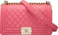 """Luxury Accessories:Bags, Chanel Pink Quilted Calfskin Leather Medium Boy Bag with Light Gold Hardware. Condition: 2. 10"""" Width x 5.5"""" Height x ..."""