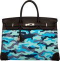 Luxury Accessories:Bags, Hermès 40cm Customized Blue Camouflage Toile & Cacao Clemence Leather Birkin Bag with Palladium Hardware. I Square, 2005...