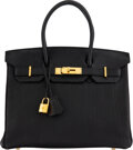"""Luxury Accessories:Bags, Hermes 30cm Black Fjord Leather Birkin Bag with Gold Hardware. K Square, 2007. Condition: 3. 12"""" Width x 8.5"""" Heig..."""