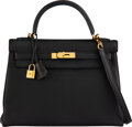 """Luxury Accessories:Bags, Hermès 32cm Black Clemence Leather Retourne Kelly Bag with Gold Hardware. P Square, 2012. Condition: 4. 12.5"""" Widt..."""