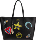 Luxury Accessories:Bags, Versace Black Saffiano Leather Logo Patch Tote Bag...