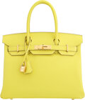 """Luxury Accessories:Bags, Hermès 30cm Lime Epsom Leather Birkin Bag with Gold Hardware. D, 2019. Condition: 1. 12"""" Width x 9"""" Height x 6"""" De..."""