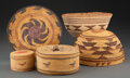 American Indian Art:Baskets, Five West Coast Twined Basketry Items... (Total: 5 )