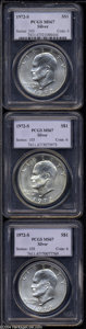 Eisenhower Dollars: , 1972-S $1 Silver MS67 PCGS, three pieces, all are well ... (3 coins)