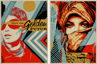 Shepard Fairey (b. 1970) Golden Future For Some (set of 2), 2017 Screenprints in colors on speckled