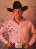 Music Memorabilia:Autographs and Signed Items, George Strait Signed and Inscribed Promo Photo....