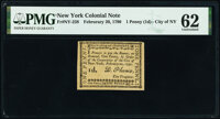 New York- New York City February 20, 1790 1d PMG Uncirculated 62
