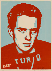 Shepard Fairey (b. 1970) Strummer Poster, 2002 Screenprint in colors on speckled cream paper 24 x
