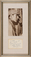 Movie/TV Memorabilia:Autographs and Signed Items, Basil Rathbone Signed Note Matted With Photo. Matt...