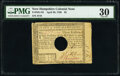 Colonial Notes:New Hampshire, New Hampshire April 29, 1780 $3 PMG Very Fine 30.. ...