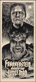 """Movie Posters:Horror, Frankenstein Meets the Wolf Man, 146/225 by Elvisdead (Mondo, 2014). Mint. Hand Numbered Limited Edition Screen Print (36"""" X..."""
