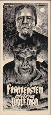 Frankenstein Meets the Wolf Man, 146/225 by Elvisdead (Mondo, 2014). Mint. Hand Numbered Limited Edition Screen Print (3...