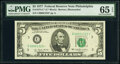 Small Size:Federal Reserve Notes, Low Serial Number 1323 Fr. 1974-C* $5 1977 Federal Reserve Star Note. PMG Gem Uncirculated 65 EPQ.. ...