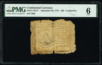 Continental Currency September 26, 1778 $50 Contemporary Counterfeit PMG Good 6