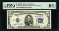 Small Size:Silver Certificates, Fr. 1654* $5 1934D Wide II Silver Certificate Star. PMG Choice Uncirculated 64 EPQ.. ...