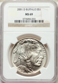 2001-D $1 Buffalo Silver Dollar MS69 NGC. Paired with a 2001-P $1 Buffalo Silver Dollar PR69 Ultra Cameo NGC.... (Total:...