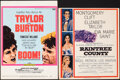 """Movie Posters:Miscellaneous, Elizabeth Taylor and Richard Burton Lot (1950s-1960s). Folded, Overall: Fine/Very Fine. Insert (14"""" X 36""""), Trimmed Window C... (Total: 7 Items)"""