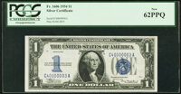 Fancy Serial Number 40000003 Fr. 1606 $1 1934 Silver Certificate. PCGS New 62PPQ