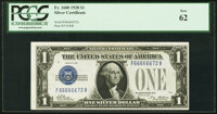 Six in a Row 66666672 Fr. 1600 $1 1928 Silver Certificate. PCGS New 62