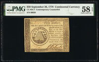 Continental Currency September 26, 1778 $50 Contemporary Counterfeit PMG Choice About Unc 58 EPQ