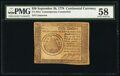 Continental Currency September 26, 1778 $50 Contemporary Counterfeit PMG Choice About Unc 58