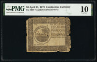 Continental Currency April 11, 1778 $6 Counterfeit Detector PMG Very Good 10