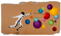 Kunstrasen (20th century) Fencer vs. Bubbles, 2020 Spray paint and stencil on cardboard 18 x 31-1/2 inches (45.7 x 80