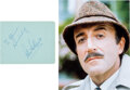 Movie/TV Memorabilia:Autographs and Signed Items, Peter Sellers Signed and Inscribed Page. A blue pa...