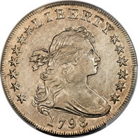 1798 $1 Large Eagle, Pointed 9, Wide Date, B-23, BB-105, R.3, AU53 PCGS....(PCGS# 40022)