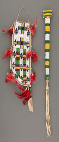 American Indian Art:Beadwork and Quillwork, Two Sioux Beaded Hide Items... (Total: 2 )