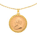 Estate Jewelry:Necklaces, Gold Coin, Silver, Yellow Metal Pendant-Necklace. ...