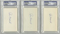 Autographs:Index Cards, Joe Medwick Signed Index Cards, PSA-Graded Group Lot of 3. Truly aterror at the plate, Joe Medwick retired with a career ....